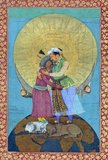 Jahangir (Hindi: नूरुद्दीन सलीम जहांगीर Urdu: سلیم جهانگیر نورالدینPersian: نورالدین سلیم جهانگیر) (full title: Al-Sultan al-'Azam wal Khaqan al-Mukarram, Khushru-i-Giti Panah, Abu'l-Fath Nur-ud-din Muhammad Jahangir Padshah Ghazi [Jannat-Makaani]) (20 September 1569 – 8 November 1627) was the ruler of the Mughal Empire from 1605 until his death in 1627.<br/><br/>  Shāh 'Abbās the Great (or Shāh 'Abbās I) (Persian: شاه عباس بزرگ) (January 27, 1571 – January 19, 1629) was Shah (king) of Iran, and generally considered the greatest ruler of the Safavid dynasty.<br/><br/>  The painting shows Emperor Jahangir of India and Shah Abbas of Persia embracing and is an allegorical representation of the friendship between the Mughal and Safavid empires. Both figures stand atop the world (symbolizing their power) and a lion and lamb lying together (symbolizing peace). The halo behind the two figures that is suspended by cherubs as well as the vivid floral patterns in the borders reveal the influence of European artistic motifs in Mughal painting during the reign of Jahangir.